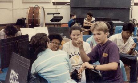 Robin and friends in the band hall, 1986