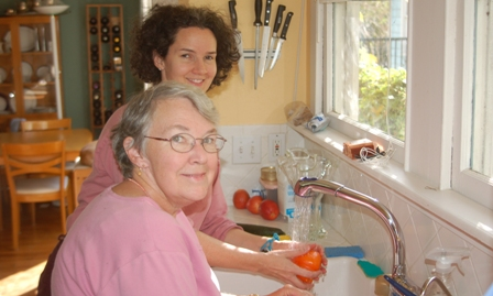 Jean and Bob at the sink