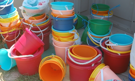brightly-colored buckets