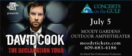 David Cook to play Moody Gardens July 5th