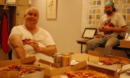 Chuck and Chris with pizza