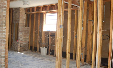gutted kitchen and laundry