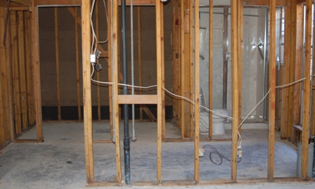 gutted master bath and closet
